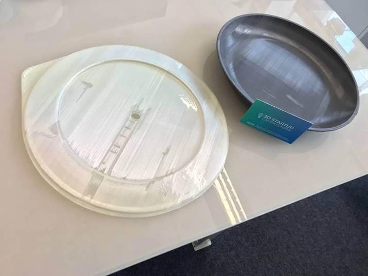 Funktionsprototypen für nachhaltige To-Go Behälter mit Endprodukt-Look farbecht 3D gedruckt